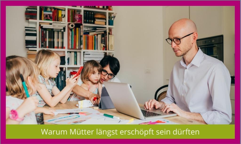 Mütter und Väter sind erschöpft vom Homeschooling und Homekitaing